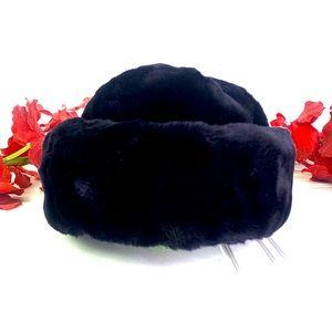 Faux fur dark dark navy blue (almost black)  hat